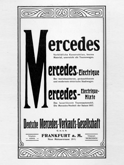Original Mercedes-Benz advertising poster from 1907