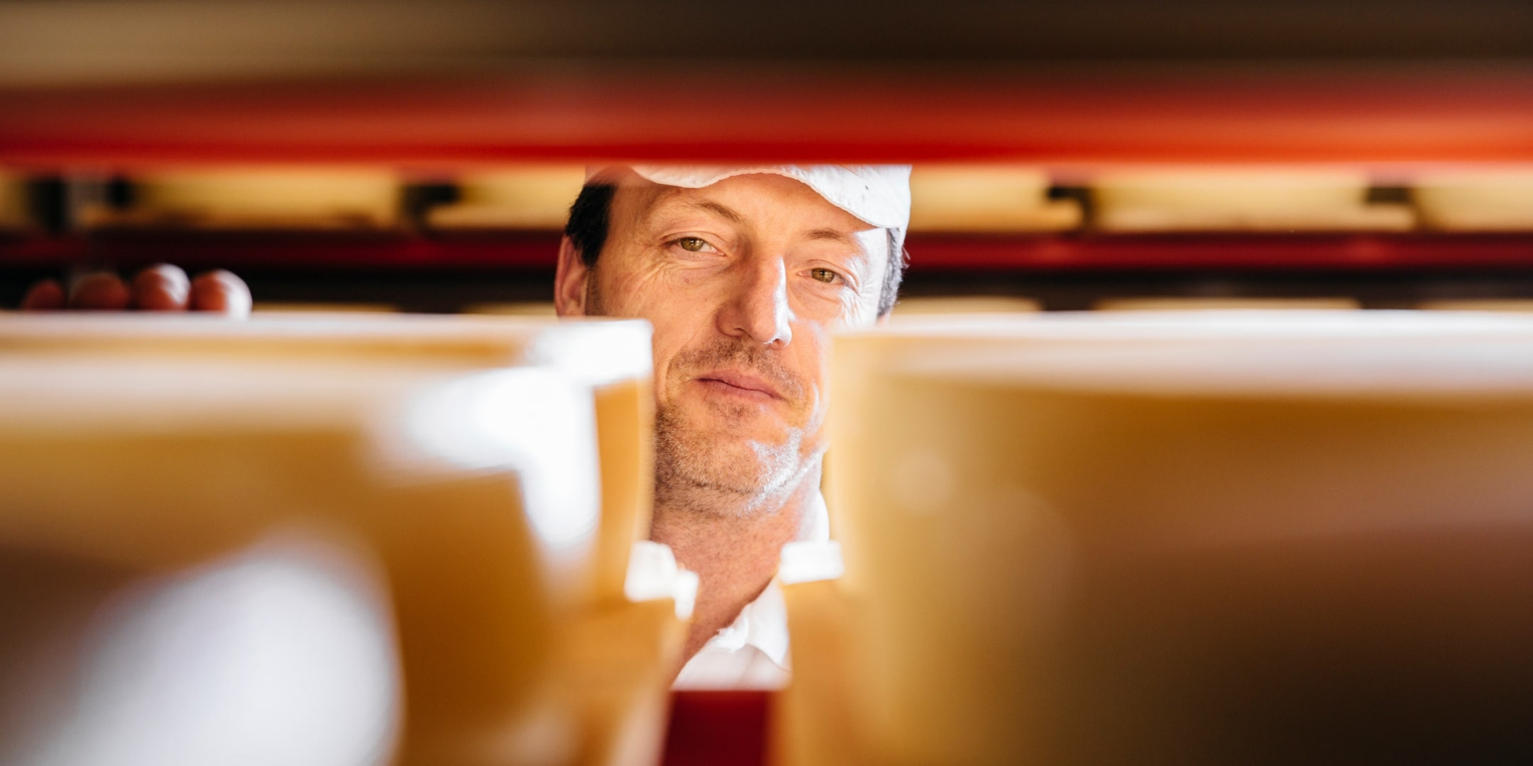 A man looks into the camera through a shelf full of cheeses