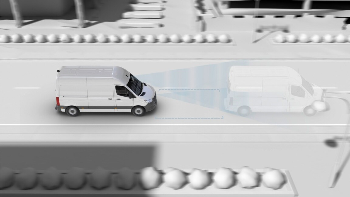 Animation of a Mercedes-Benz Sprinter which is detecting a vehicle in front using a sensor system